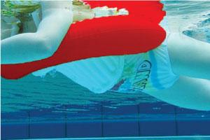 Underwater shot of child on SWIMTRAINER Classic float